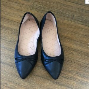 Black Pointy Toe Bow Faux Leather Ballet Flats